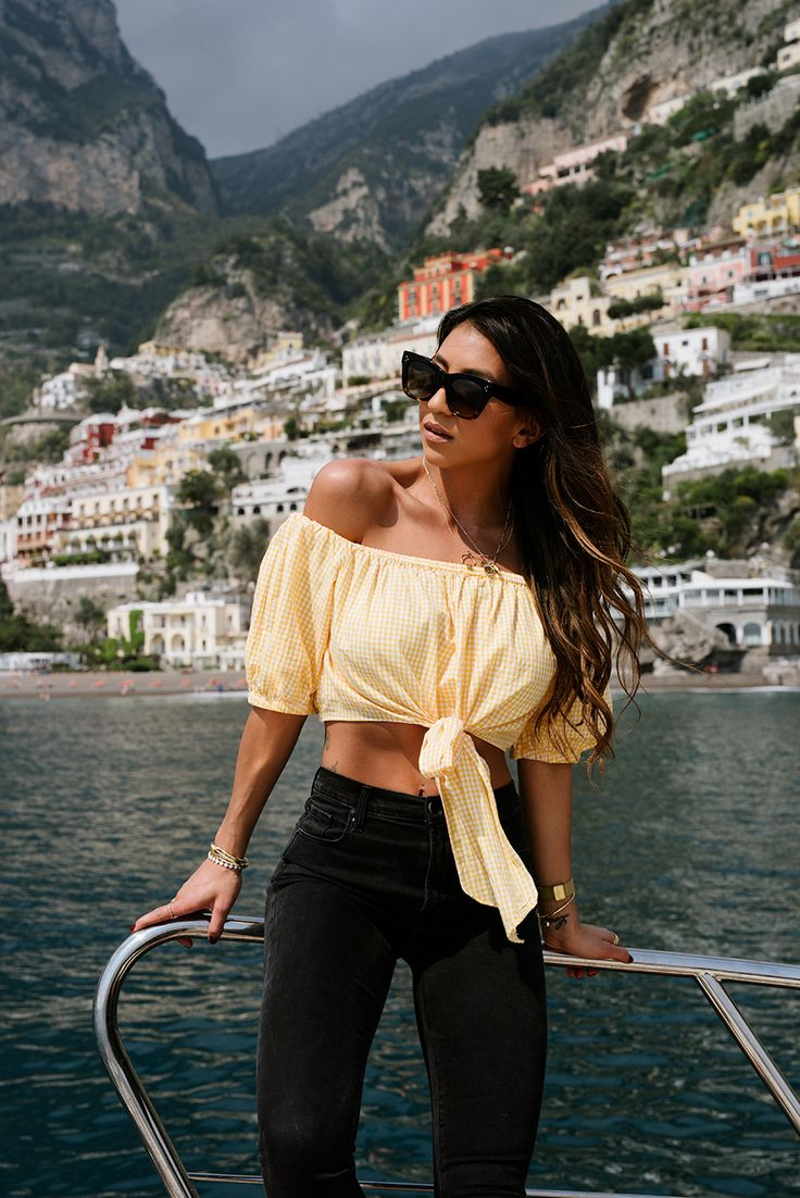 tom ford sole di Positano perfume italy Amalfi coast girl gingham italian crop top yellow boat ride travel guide travel blogger blog not your standard fashion style outfit south of italy
