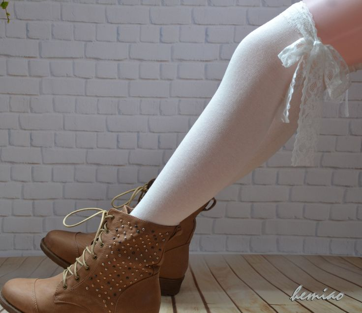White lace thigh high socks, Knee high socks- socks women knee Socks -socks by Hemiao on Etsy https://www.etsy.com/listing/210236630/white-lace-thigh-high-socks-knee-high
