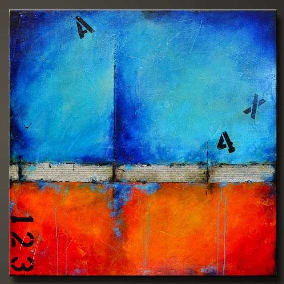 Urban Graffiti 2  36 x 36  Acrylic mixed media abstract painting  7/8 canvas, sides are painted black, staple free, ready to hang.  Signed and dated on the back.  This large 36 x 36 abstract mixed media painting has been highly textured in a unique pattern, then covered in shades of cobalt blue, sky blue, crimson red, orange, yellow, and black. Ive also added some strips of unique paper and bold gothic number accents for a great urban effect. Finished in gloss varnish to protect the piec...