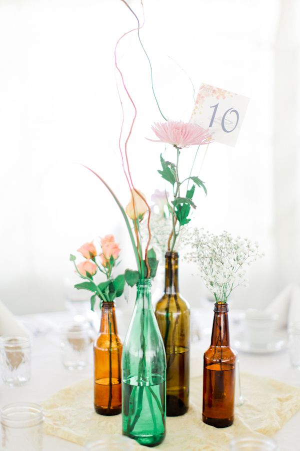 165 best images about diy wedding centerpieces on pinterest for Wedding table decorations with wine bottles
