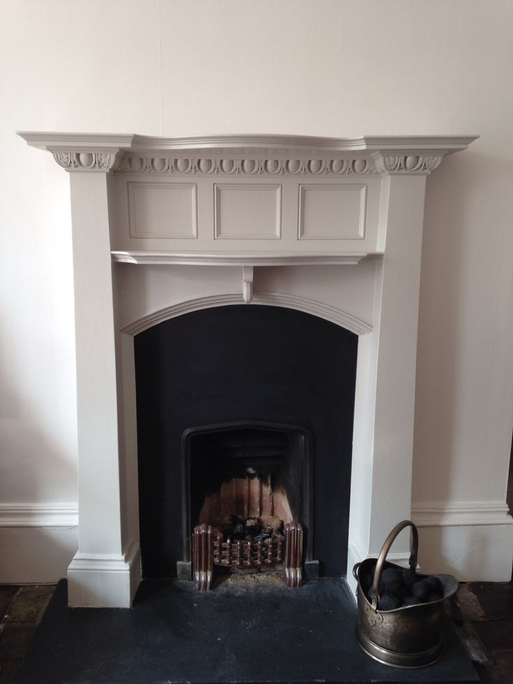 Our gorgeous fireplace painted with Farrow and Ball Cornforth White #fireplace…