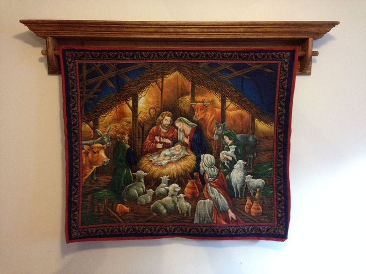 Nativity Wall Hanging Hand Quilted Wall Hanging by CozeeQuilts
