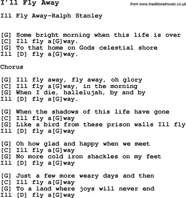 Song I�ll Fly Away, with lyrics for vocal performance and accompaniment chords for Ukulele, Guitar Banjo etc.