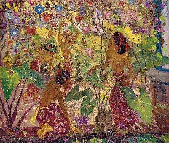 Adrien Jean Le Mayeur de Merprès - Balinese Garden with Ladies