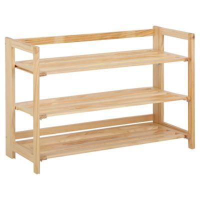 3tier stackable wooden shoe rack in nautral