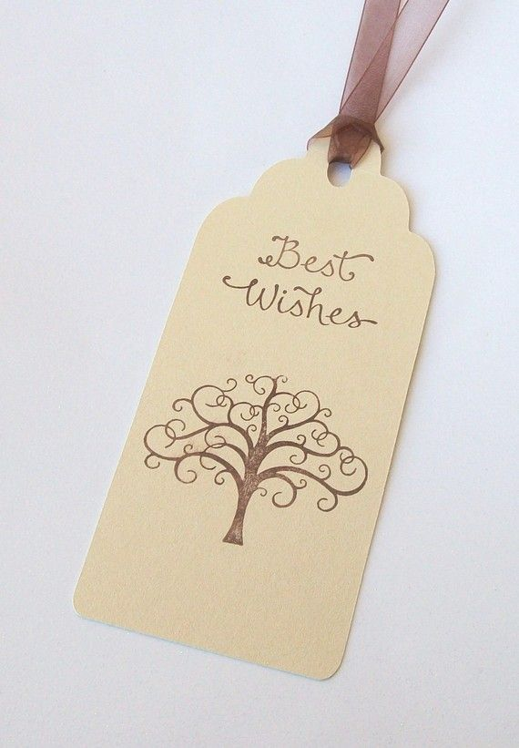 Wedding Wishing Tree Tags  Best Wishes with Tree set by paperpixie