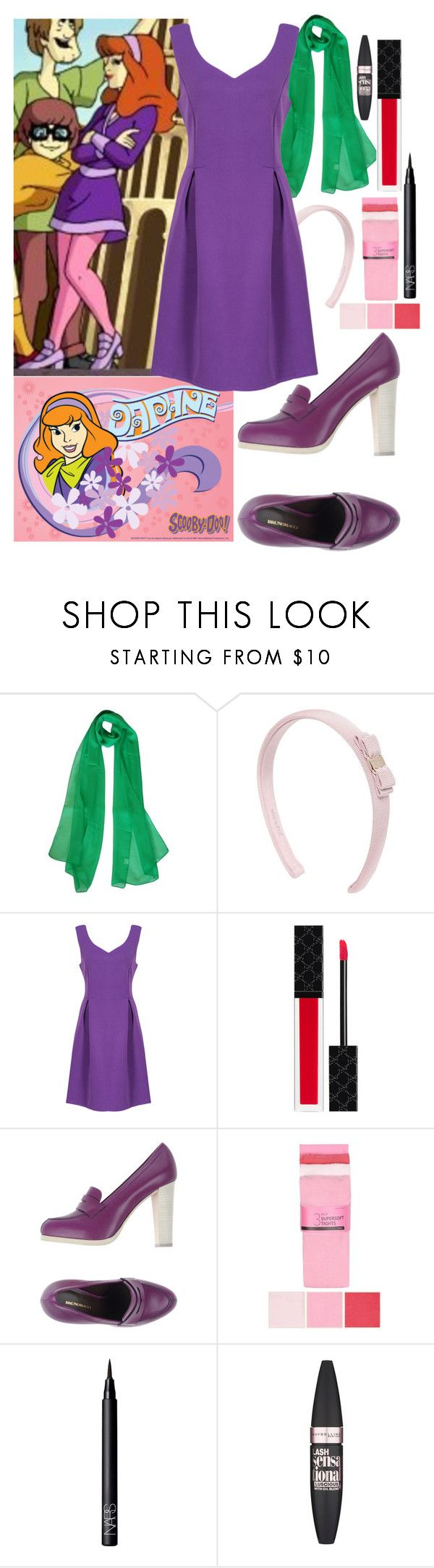 """""""Daphne Costume"""" by panenguin ❤ liked on Polyvore featuring Salvatore Ferragamo, WithChic, Gucci, Bruno Magli, bluezoo, NARS Cosmetics and Maybelline"""