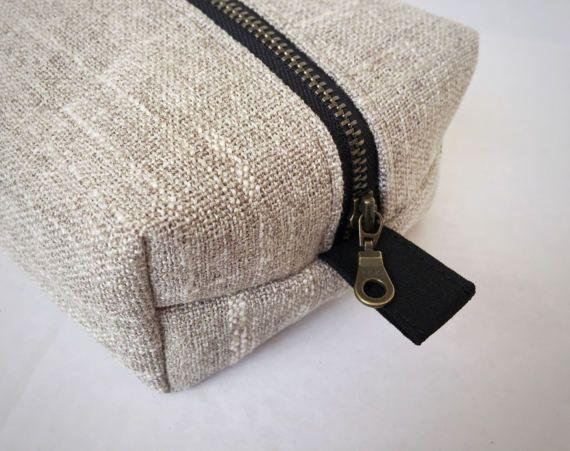 Makeup Bag / Organizer Textured Woven Oatmeal and Black Girlfriend Gift Bridesmaid Gift