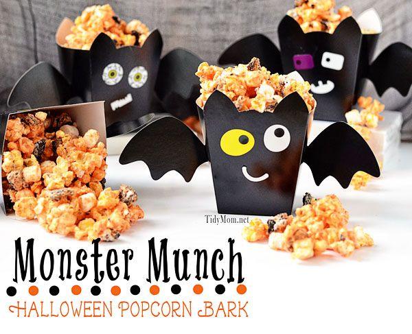 Monster Munch:  #Halloween Popcorn Bark recipe at TidyMom.net