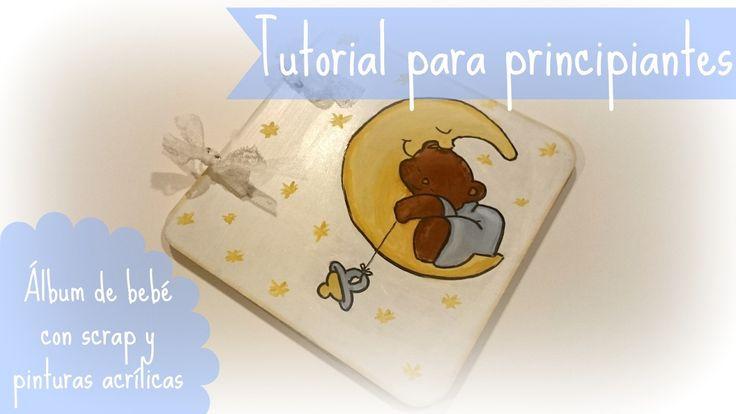 Álbum de bebés para principiantes usando un álbum de cartón, pinturas acrílicas y papales de scrap #manualidades #decoración #bebes #infantil #scrapbook #crafts