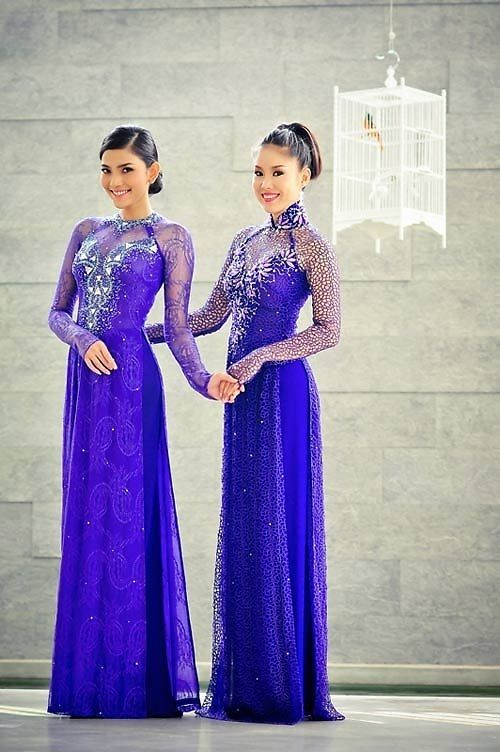Love this color for ao Dai during traditional ceremony... love the neckline  Gorgeous, both of them.