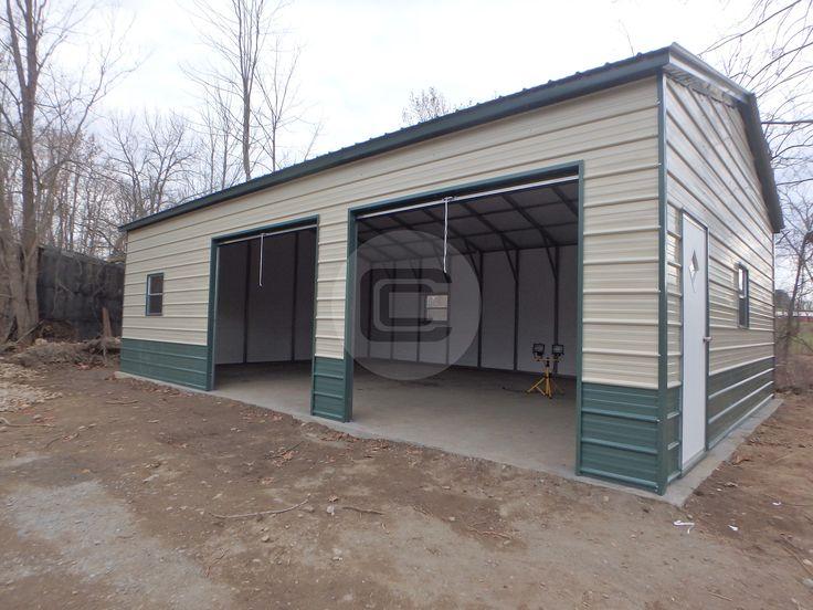 Side Entry Metal Garage with (2) Garage Doors (1) Man Door and (2) Windows.
