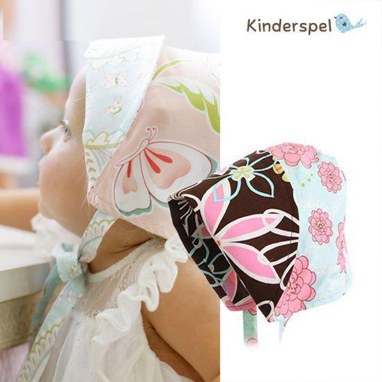 Kinderspel Baby Girls Flower Hair Bonnet Accessories 100% Cotton Made In Korea  #KinderspelKorea