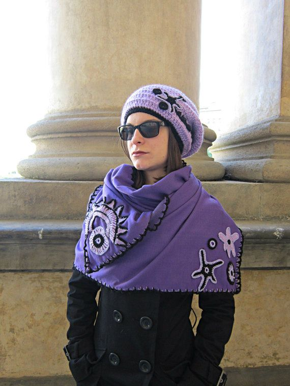 Inspiration ~ embellish with freeform crocheted elements {Purple OOAK Womans Scarf Shabby Chic Shawl Textile by MARTINELI, etsy}