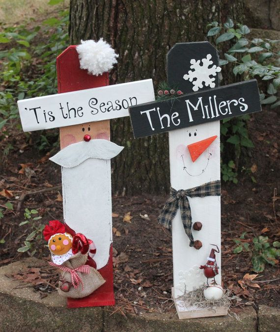 Personalized Christmas Winter Santa Snowman By Southernchicbyle Wooden Crafts2x4