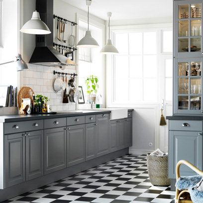 I like the subway tiles and grey cupboards. Love the pendant lights!