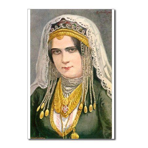 Armenian woman from Karin. The author of this painting is Arshak Fetvadjian.