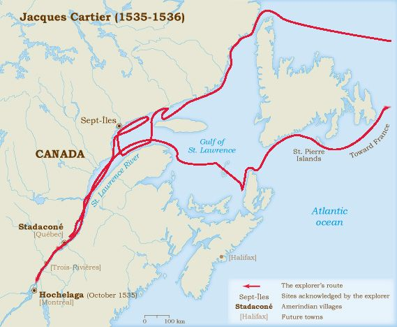 Cartier Down The St Lawrence River To Montreal Explorers - St lawrence river on us map