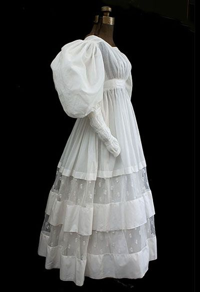 Romantic period cotton dress, c.1830 (vintagetextile.com)