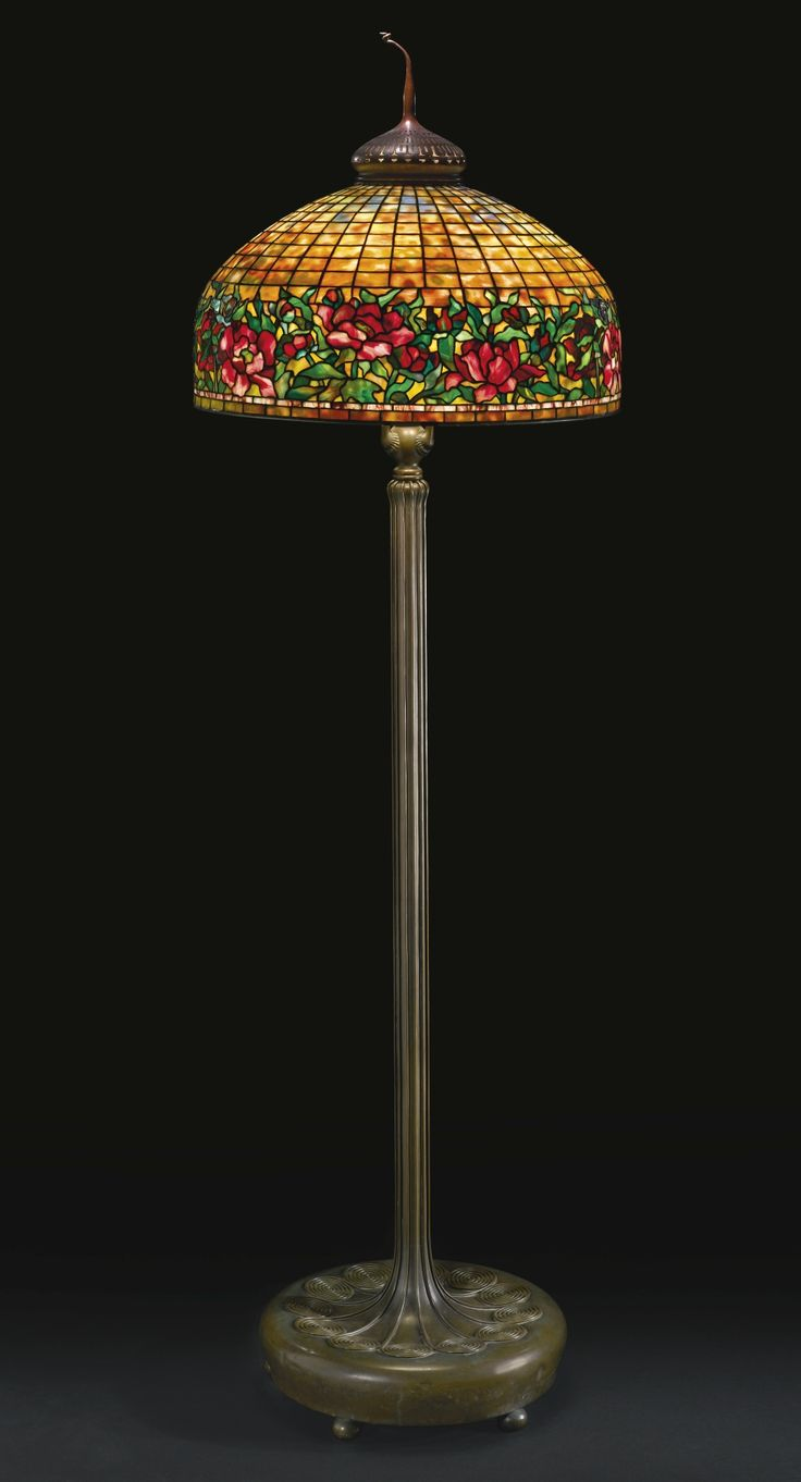 ** Tiffany Studios, New York, Favrile Leaded Glass and Patinated Bronze Floor Lamp.