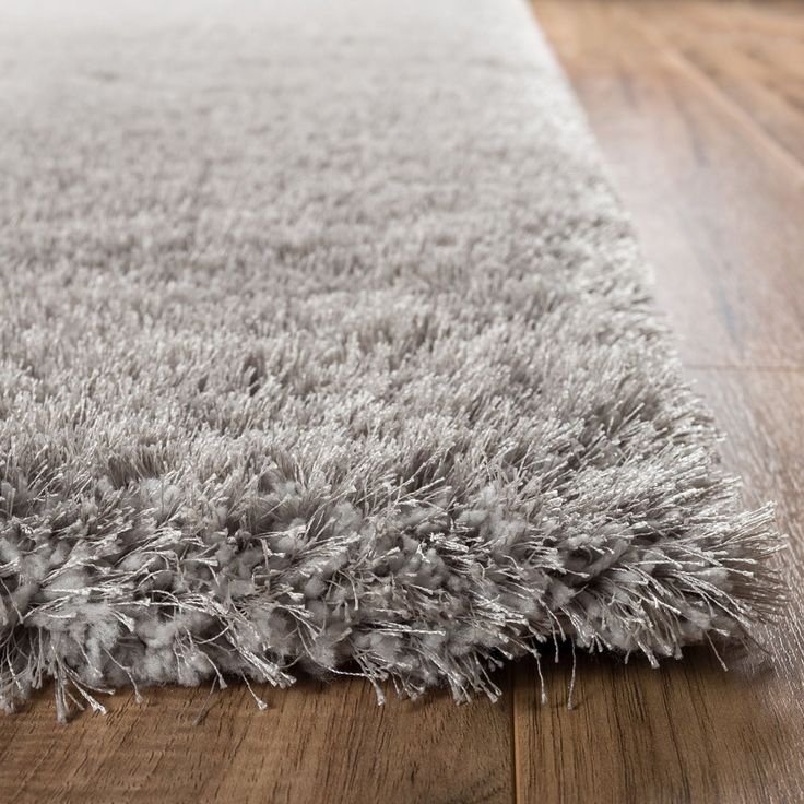 Shimmer Shag Silver Grey Solid Modern Luster Ultra Thick Soft Plush Plain Area Rug 5 X 7 Contemporary Retro Polyester Textured Two Length Pile Yarn