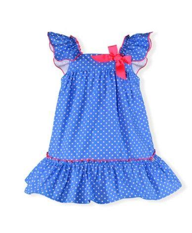 fc8c5dc87 Vestido bebé azul y fucsia Vestido para bebé niña desde 6 meses hasta 30  meses.