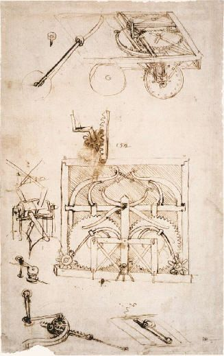 Drawing ~ Da Vinci Invention of the Automobile Car! ~  :The first car and possibly the first mechanical computer!