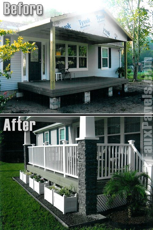 9 Beautiful Manufactured Home Porch Ideas Porch With Stone