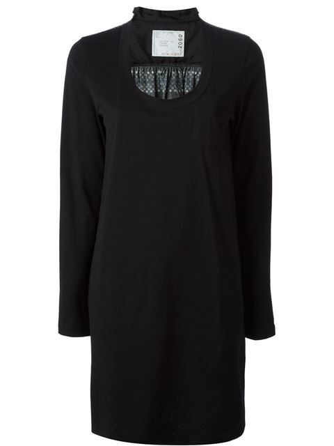 Shop Sacai contrast sheer back dress