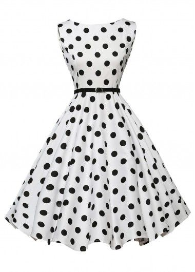 Vintage 50S Style White & Black Polka Dot Print Swing Dress, Free Shipping!