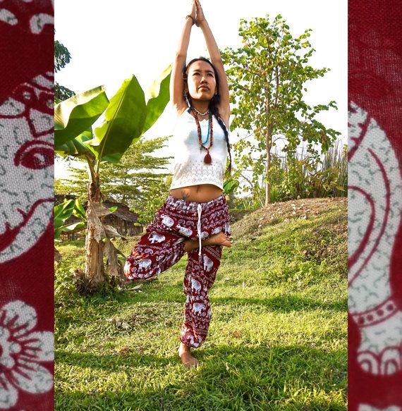 Red Elephant Pants // Hippie Pants // Harem Pants // Music Festival Clothing // Bohemian Pants // Yoga Pants // Music Festival //
