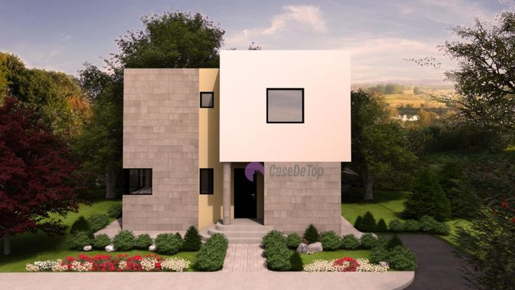 Locuinta unifamiliala moderna, cu acoperis tip terasa, organizata parter si etaj- Fatada principala  Modern single-family dwelling- The main facade  Etichete: proiect casa, proiect casa cu acoperis tip terasa, proiecte case, proiecte case cu etaj, proiecte case moderne, case moderne