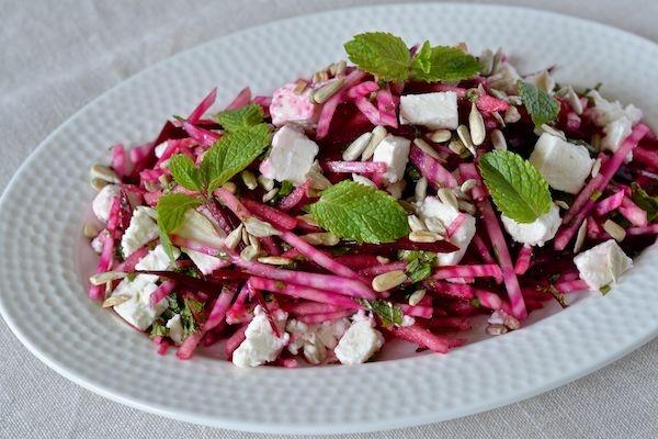 Beetroot salad with feta cheese, pears, mint, sunflower seeds and lemon vinaigrette.