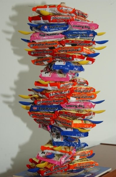 Impressive balance --> Ramen noodle DNA model... aka the life of a poor college science major