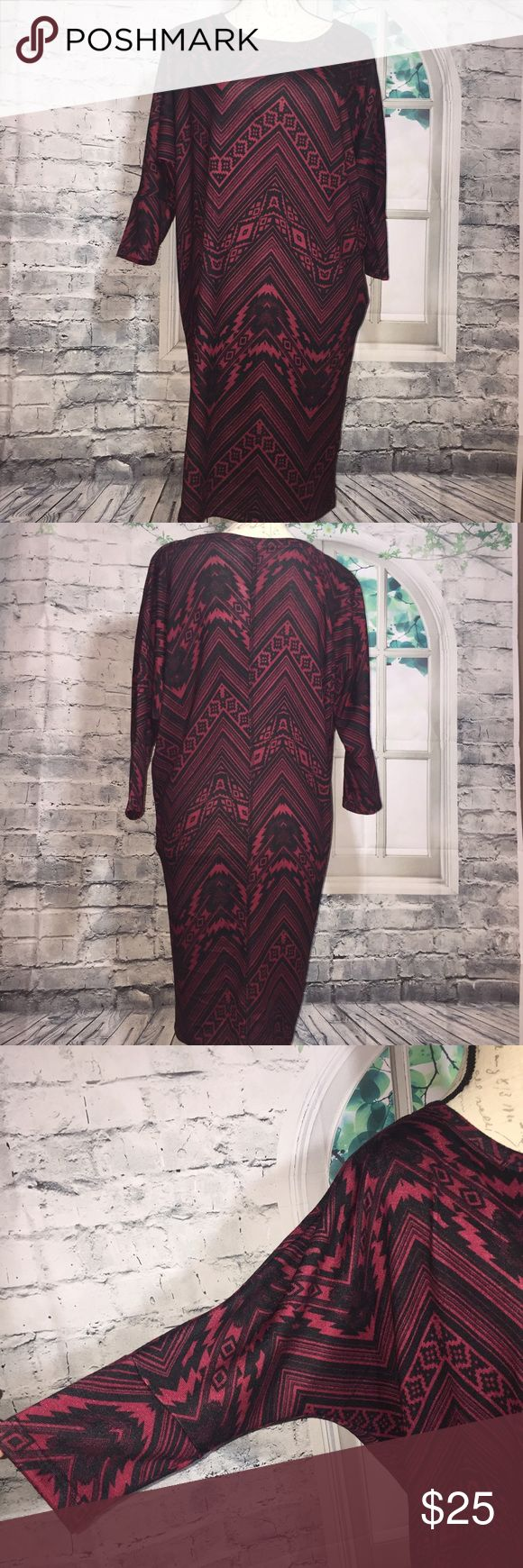 "Nordstrom Bobeau Sweater Tunic Dress M Made in USA Nordstrom Bobeau Sweater Tunic Dress Aztec Medium Black Red Made in USA • Batwing 3/4 Sleeves • Approx. Length: 35"" •Arm pit to arm pit: 24"" • 95% Polyester; 5% Spandex • Machine wash • Aztec pattern • Perfect for the cooler days • Retail:$62 • Bought from Nordstrom bobeau Tops Tunics"