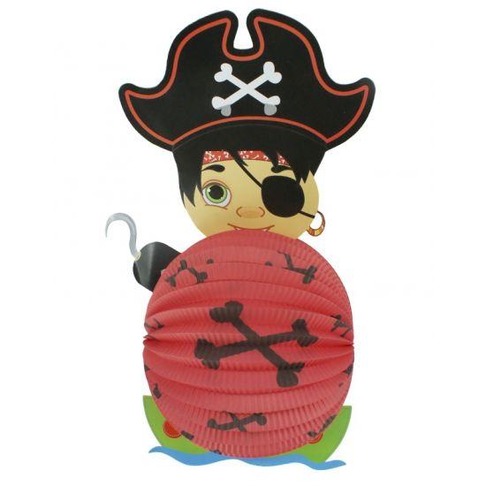 Lampion piraat 22 cm. Papieren bollampion in piraten uitvoering. De lampion is niet brandvertragend.