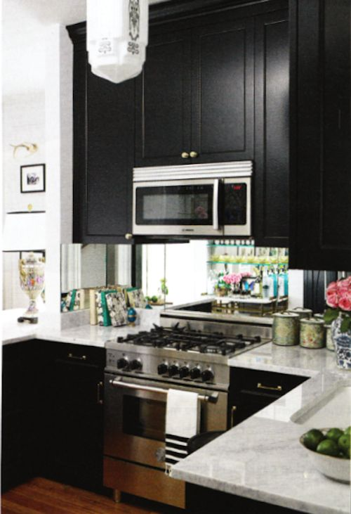lovin' black cabinets with marble and stainless: Kitchens Design, Dark Cabinets, Black Cabinets, Small Kitchens, Decoration Idea, Black Kitchens, Mirror Backsplash, Small Spaces, Kitchens Cabinets