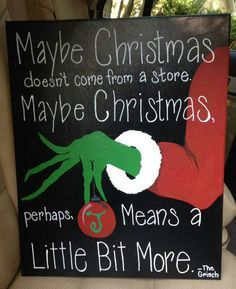 Grinch Christmas acrylic painting! 16x20 stretched canvas! Ornament can be personalized! With our without writing