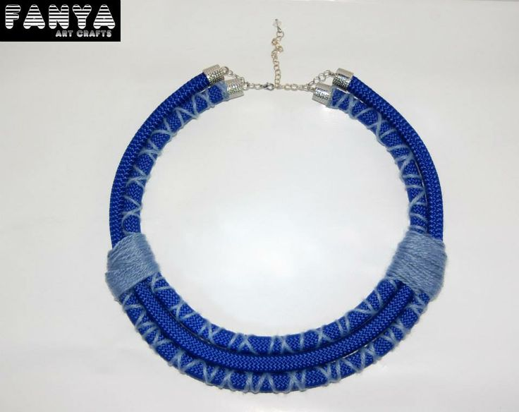 "Statement necklace ""Cleopatra blue""  Made from paracord & acrylic fiber"