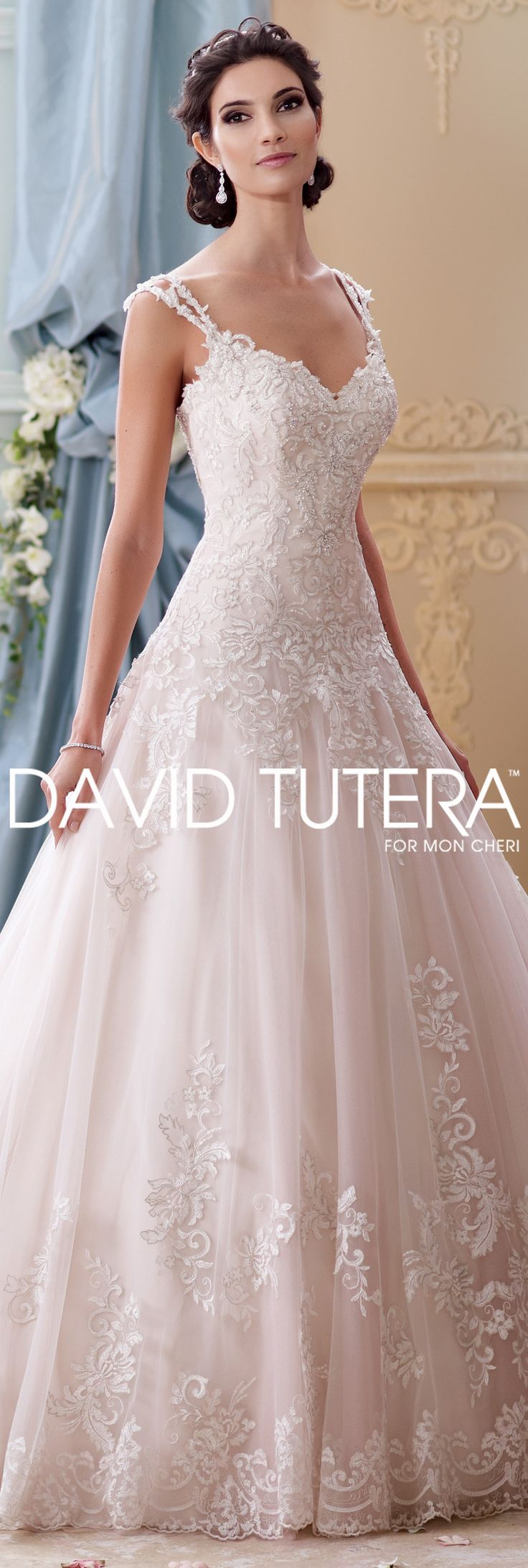 The David Tutera for Mon Cheri Fall 2015 Wedding Gown Collection - Style No. 215277 Arwen  #laceweddingdresses