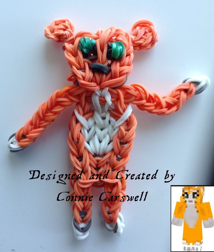 Rainbow Loom - Minecraft:STAMPY LONGNOSE. Designed and loomed by Connie Carswell at Orca Loopy. Click photo for YouTube tutorial. 09/15/14.