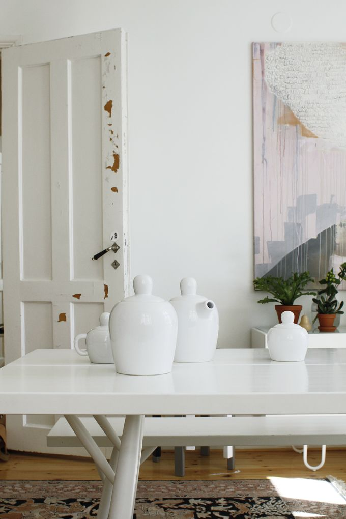 white dining room, huge painting   Styling: Susanna Vento for Arla