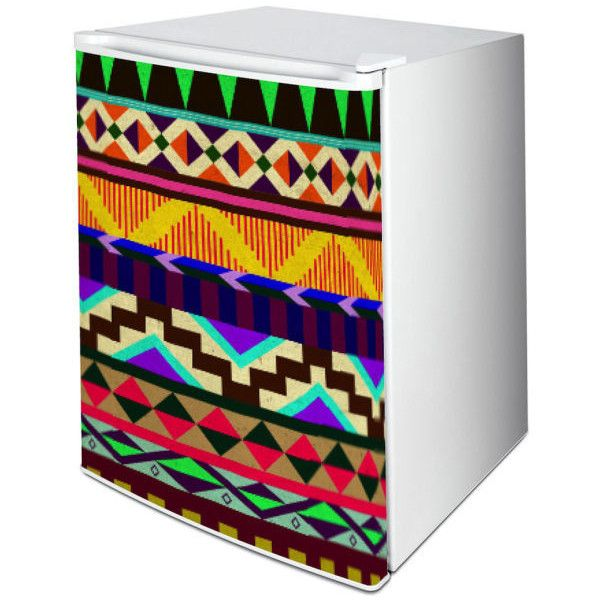 Vinyl Revolution Aztec One-Door Freezer or Fridge Vinyl Wrap ($2.48) ❤ liked on Polyvore featuring home, home improvement and household appliances