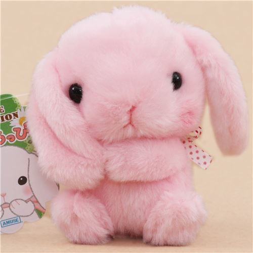 cute pink bunny rabbit holding ear white bow plush toy from Japan