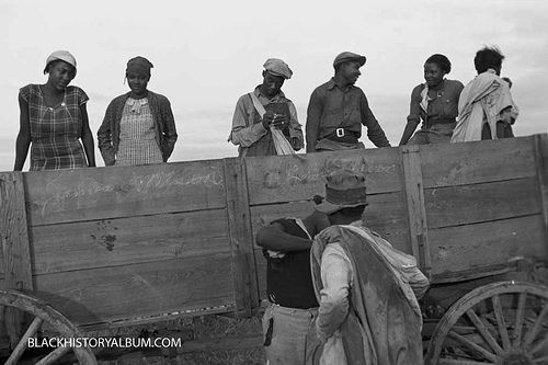 Truck full of cotton field pickers at the end of the day getting ready for the trip back home (Arkansas), 1935     Vintage African American photography courtesy of Black History Album, The Way We Were.    Follow Them On Twitter @blackhistoryalb