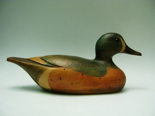 RARE Carved Wood Green Wing Teal DECOY DUCK - TOM TABER 13'' L. 1980s. What wonderful colour.