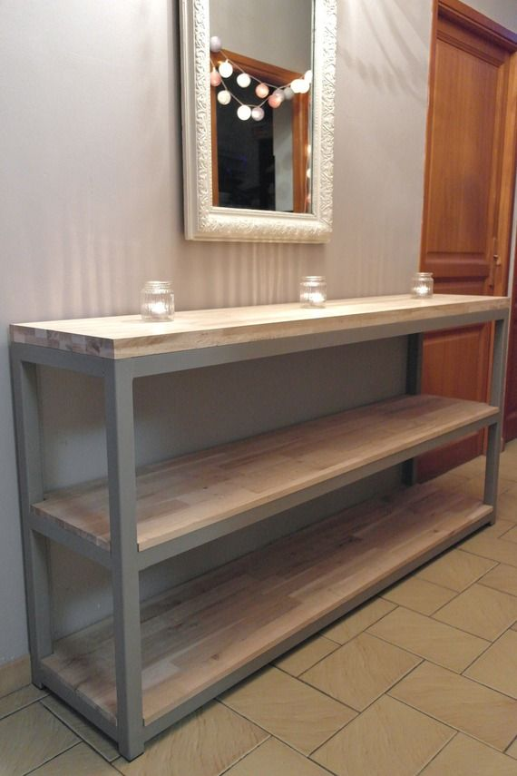 De l'originalité pour cette console ou billot de cuisine , en acier et chêne