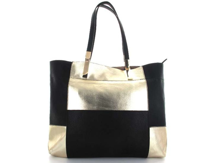 Metallic Gold Colour Block Tote A top handle tote with a stunning large patchwork pattern featuring metallic and black squares. Includes a top zipper, to kepp items safe and secure. Smooth surface is easy to care for and clean.   Available in; Gold/Black and Silver/Black.