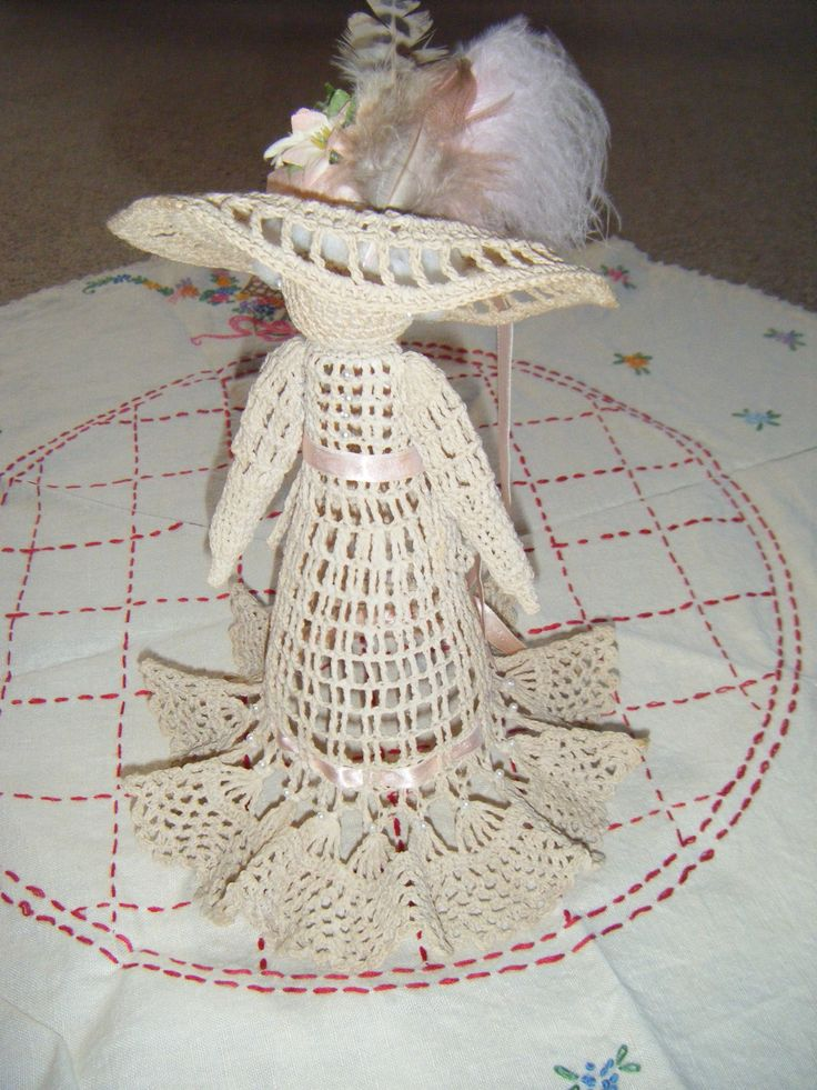 Sugar Starched Crocheted Victorian Lady.