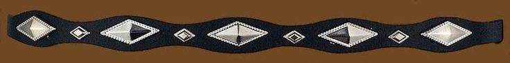 Black Leather Hatband with Silver Diamond Shaped Conchos